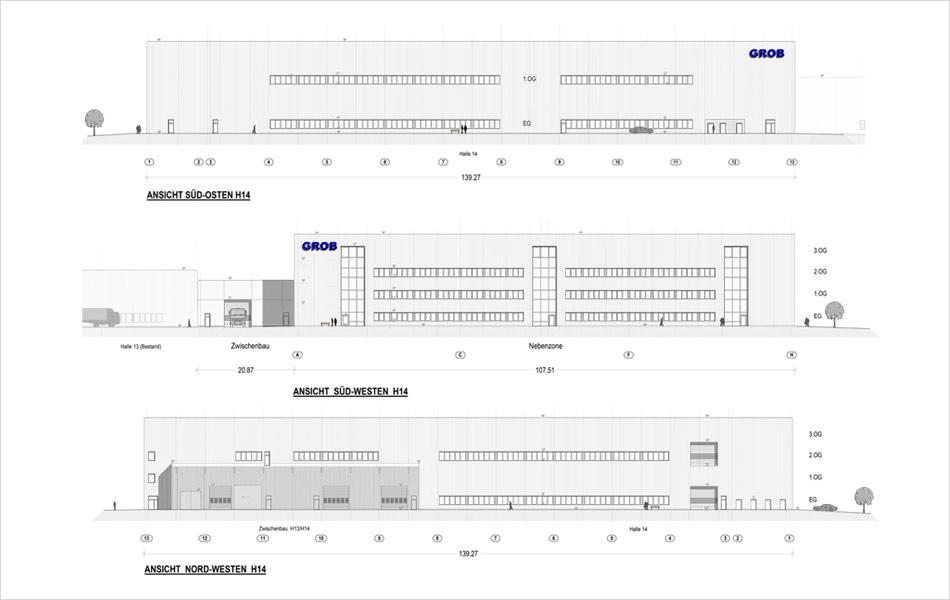 Neubau der Halle 14 der Firma GROB
