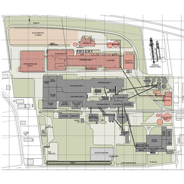 Die Infrastrukturplanung für die Papierfabrik in Plattling umfasst ein Straßen-, Kanal- und Hydrantennetz sowie einen Bahnanschluss und verschiedene Lagerstätten.
