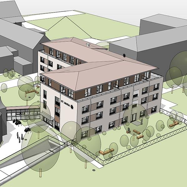 Architektur und Tragwerk des Wohn- und Pflegeheims in Altötting wurden von SCHUSTER engineering geplant.