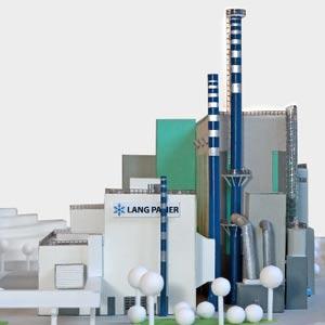 Das Heizkraftwerk läuft auf Basis von Kraft-Wärme-Kopplung und wird mit Erdgas, Reststoffen aus der Papierproduktion und Ersatzbrennstoffen betrieben.