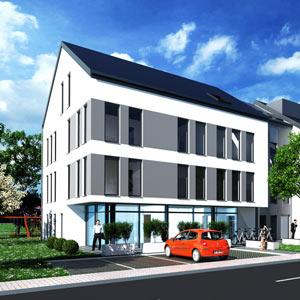Die Architektur, die Tragwerksplanung und die kompletten Außenanlagen der Wohnanlage in Aschaffenburg wurden von SCHUSTER engineering geplant.
