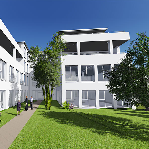 Der Neubau besteht aus einem Kellergeschoss mit Tiefgarage, drei oberirdischen Vollgeschossen und einem zurückgesetzten Dachgeschoss mit Penthouse-Wohnungen.