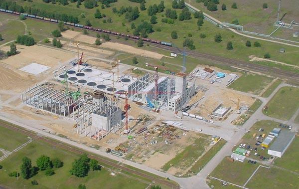 Baustellen-Luftansicht der Bioethanolanlage