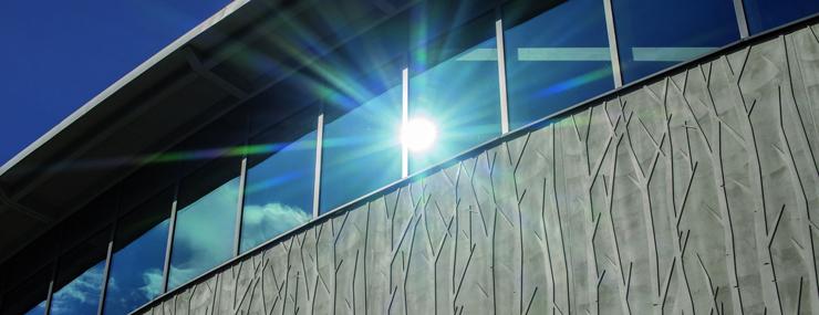 In der Betonfassade des Sportzentrums setzt sich das Relief der Birkenstämme aus dem angrenzenden Auwald fort.