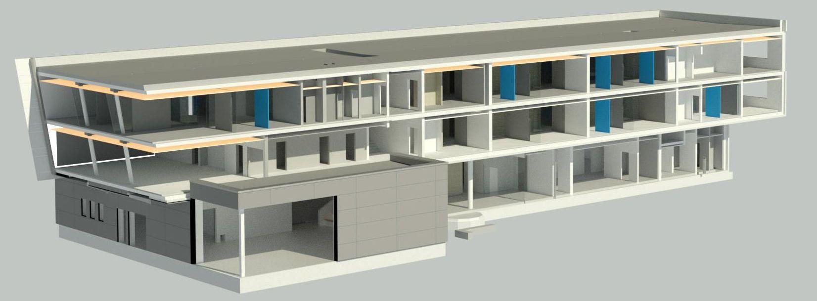 3D Modell eines Gebäudes, geplant mit BIM.