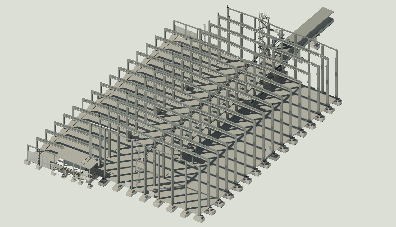 BIM 3D-Gebäudemodell einer Halle.