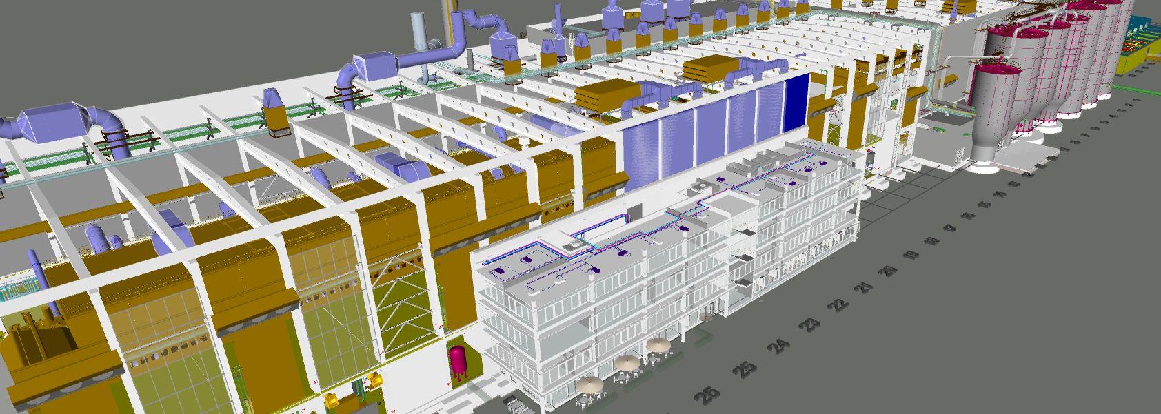 BIM: 3D Modell der Papierfabrik PM3 der Pöls AG
